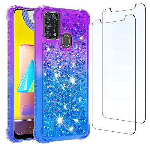 per Samsung M31 Custodia e [2 pezzi] Proteggi Schermo in Vetro Temperato, Glitter Trasparente Liquido Clear Bling Case TPU Silicone Quicksand Cover per Samsung Galaxy M31 (Viola Blu)