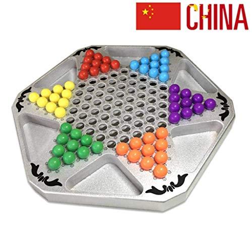 Kaikai Chinese Checkers Mármoles Juego de Mesa de ajedrez, 28 X 32 CM for Padres e Hijos Viaje Interactivo al Aire Libre Juegos de la Familia de Colores Mármoles (Color : Acrylic Marbles )