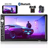 Hikity Double Din Car Stereo 7 Inch Touch Screen Car Radio with Bluetooth FM AUX-in Dual USB SD Input Port Support Mirror Link for iOS Android Phone + Frame Backup Camera Steering Wheel Control