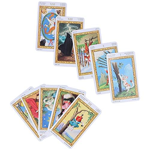 Kudoo Cartas del Tarot 78 Baraja de Tarot Tarot de Adivinación del Destino Juego de Cartas de Mesa para Principiantes y Lectores Expertos