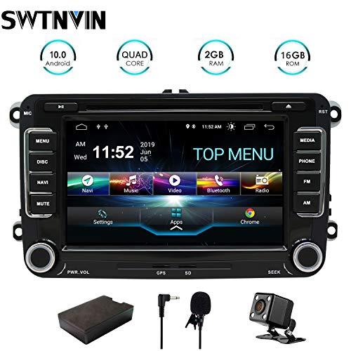 SWTNVIN Android 10.0 Auto Audio Stereo Kopfeinheit passt für Volkswagen Skoda DVD Player Radio 7 Zoll HD Touchscreen GPS Navigation mit Bluetooth WiFi Lenkradsteuerung 2GB + 16GB