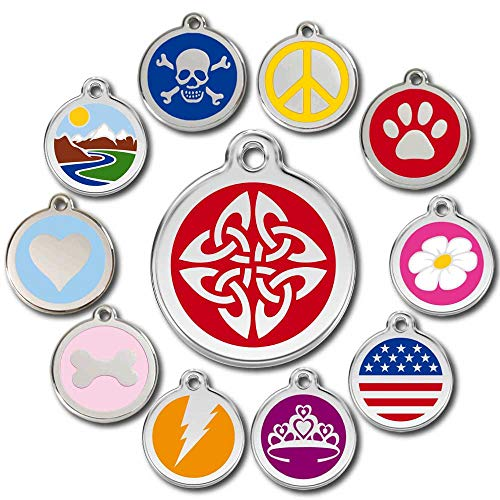 Love Your Pets Deluxe Pet ID Tags - Deep Engraved Stainless Steel - Engraving Will Last – 120 Design Choices of Pet Tags, Dog Tags, Cat Tags Most Ship Next Day (Red, Celtic Tribal)