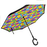 Double Layer Inverted Umbrella Cars Reverse Umbrella, Windproof UV Protection Big Straight Umbrella Colorful Blocks Game Cube for Car Rain Outdoor with C-Shaped Handle