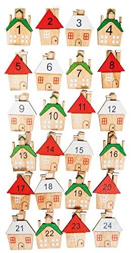 Rayher 46284000 Holz-Klammern, mit Haus, Adventskalenderzahlen Holz, Weihnachten, Adventskalender Buttons, Zahlen für Adventskalender, Btl. 24 Stück, Zahlen 1-24, 3 x 3,5 cm