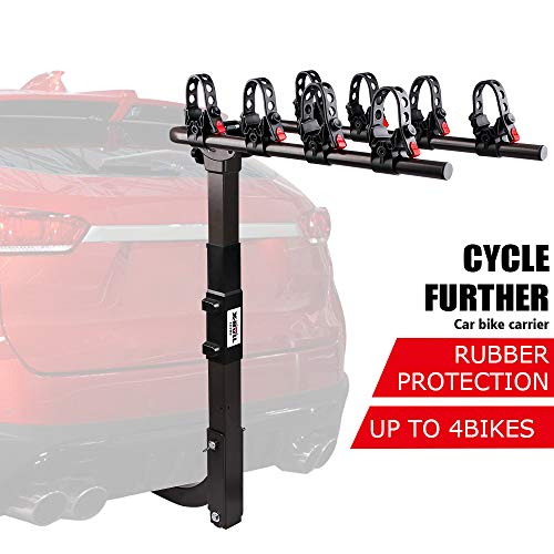 X-BULL Sports 4-Bike Hitch Racks Bike Hitch Racks for 2 in.Hitch Dual Compound Spine Shield Hitch Bicycle Carrier Racks Mount Double Foldable Rack for Cars, Trucks, SUV's and minivans(Strengthen)