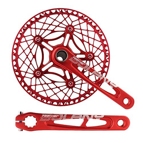LICHUXIN Juego Manivelas para Bicicleta Plegable 170 Mm, Manivela Cinco Mordazas Integrada Bicicleta 130BCD con Plato 53 / 56T, Bicicleta Carretera Y Piezas Reparación Bicicletas Plegables,Rojo,53T