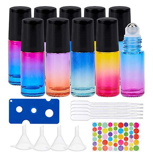 BENECREAT 10 Pack 5ml Botellas de Vidrio de Color Arcoíris con Tapas Negro, 4 Embudo de Plástico, 10 Gotero de Plástico y 1 Abridor para Aceites Esenciales
