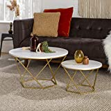 Walker Edison Modern Round Nesting Coffee Accent Table Living Room, Set Of 2,...