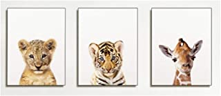 Flrtc Canvas Poster Wall Art Print Baby Nursery Lion Tiger Safari Modern Animal Painting Nordic Kids Bedroom Decoration Pi...