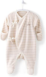 COBROO 100% Cotton Baby Footie Sleepers Pajamas with Mitten Cuffs Long Sleeves Ties Closure Baby Girl/Boy Outfits 0-3 Months