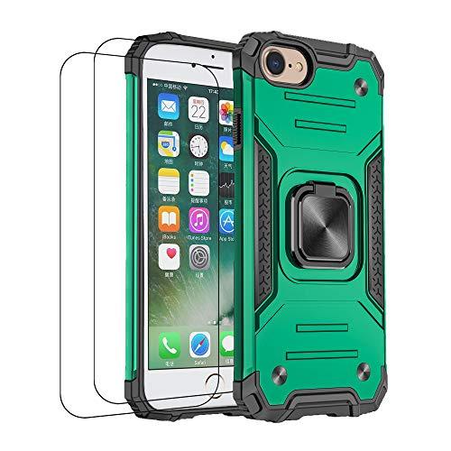 通用 Funda iPhone 7 iPhone 8 Carcasa,iPhone SE(2020) Fundas con Templado Protector [2 Piezas] Silicona Magnetica Case 360 Grados Anillo Soporte Armor Antigolpes Tapa (iPhone SE(2020), Verde 1)