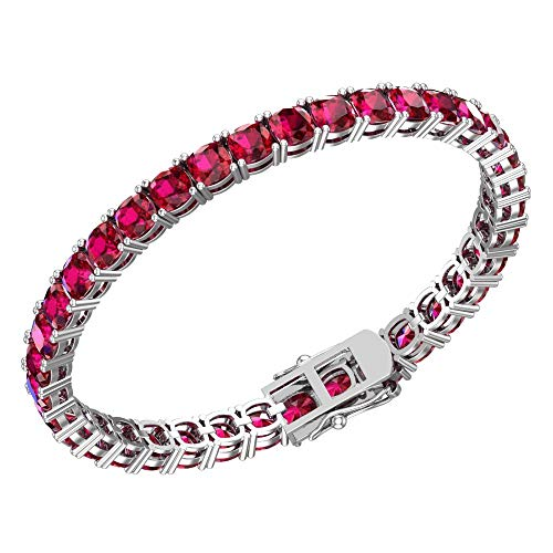 Silver Smile Sterling Silver 23.5 CTTW Created Ruby 5mm Cushion Cut Tennis Bracelet For Women