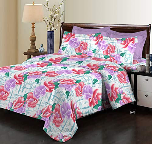 Bombay Dyeing Elixir 144 TC Cotton Double Bedsheet with 2 Pillow Covers - Violet