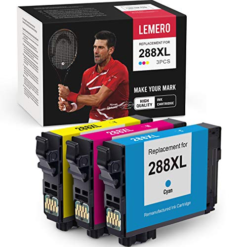 LEMERO Remanufactured Ink Cartridge Replacement for Epson 288 XL 288XL T288 T288XL Work with Expression Home XP-340 XP-440 XP-430 XP-446 XP-330 XP-434 (1 Cyan, 1 Magenta, 1 Yellow, 3 Pack)