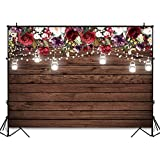 Avezano Burgundy Red Flowers Backdrop for Bridal Shower Wedding Birthday Party Decoration Photography Background Rustic Wood Jars Light Burgundy Floral Photoshoot Backdrops (7x5ft)