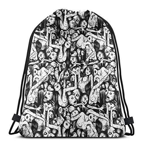 WH-CLA Bolsas De Cordones Collage De Junji Ito Tomie Bolsa De Cincha Lavable Mochila Cordónes Durable Bolsas con Cordón De Gimnasio Unisex Gimnasia Saco Bolsa para Hombre Mujer