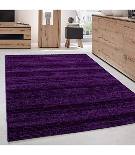 Teppich Modern Kurzflor Wohnzimmer Teppiche Einfarbig Uni Lila Meliert - 120x170 cm