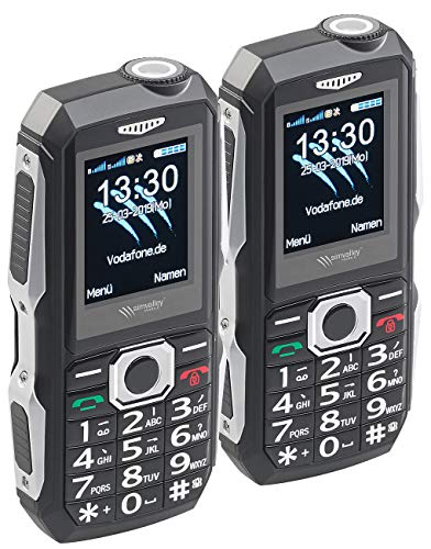 Simvalley Mobile Outdoor Handy: 2er-Set stoßfeste Outdoor-Handys, Dual-SIM-Funktion, Bluetooth, IP67 (Phones)
