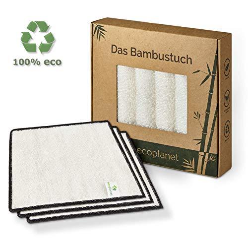 Ecoplanet - Bambus Reinigungstücher 6er Set für Haushalt, Küche & Bad - streifenfreie Reinigung - nachhaltiges Reinigungstuch