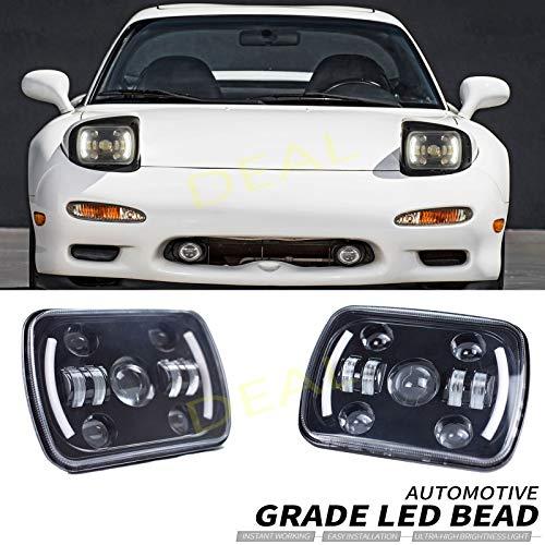 DEAL 2pcs 7x6 Inch Hi/Low Sealed Beam LED Headlights, Rectangular Projector Headlamp Conversion Kit w/DRL Fit For Any Models With H6014 H6052 H6054 H5054 H6054LL 69822 6052 6053 Sealed Beam Headlights