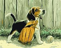 番号でDiyペイント番号付き子犬の絵野球大人のデジタル絵画キット大人の子供シニア初心者