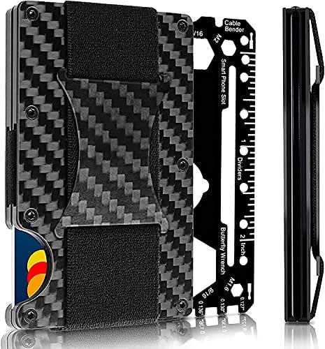 tessa USA Minimalist Carbon Fiber Slim Wallet   RFID Blocking Front Pocket Wallet   Carbon Fiber Money Clip   Credit Card Holder for Men (black)