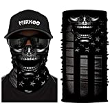 MIRKOO 3D Breathable Seamless Tube Face Mask, Dust-proof Windproof UV Protection Motorcycle Bicycle ATV Face Mask for Cycling Hiking Camping Climbing Fishing Hunting Motorcycling (SKULL-859)