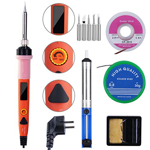 SREMTCH 80W Kit del Soldador de Precisión con Pantalla LCD, Kit de Soldadura Profesional con Temperatura Ajustable 200-450 ℃, Interruptor de Encendido / Apagado, Accesorios Completos de Soldadura