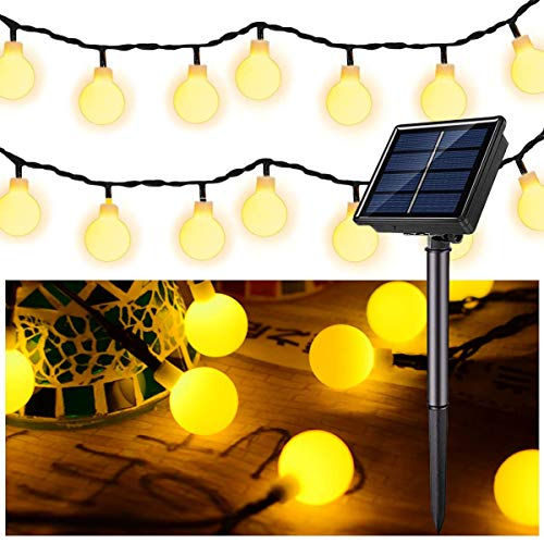 Solar Globe String Lights 37 FT 60 LED, Super Bright Globe String Lights (Upgraded Battery),Waterproof 8 Modes Pergola Lights for Fairy Garden Gazebo Pergola Party Outdoor