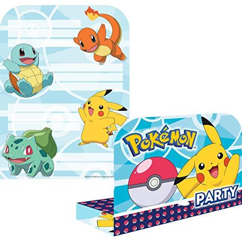 NET TOYS 8 Pokémon Einladungen zum Geburtstag - 16x21,5cm - Schöne Party-Deko Pikachu Einladungskarten Taschenmonster mit Umschlägen - Genau richtig für Kinderfest & Kindergeburtstag