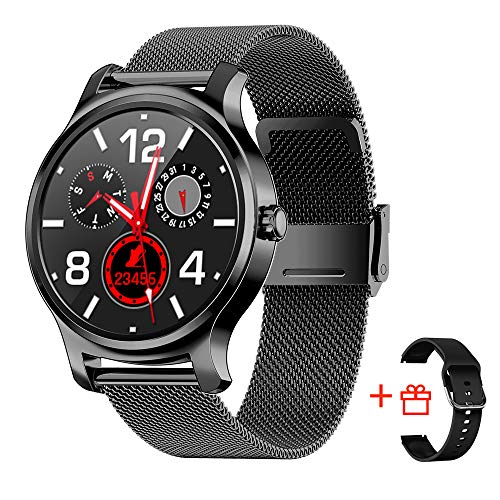 Smart Watch Men Women Waterproof for Android and iOS Phones, Sport and Fitness Tracking Smartwatch with Step Counter, Heart Rate Tracker, Text and Call Notification, Round Face, Black