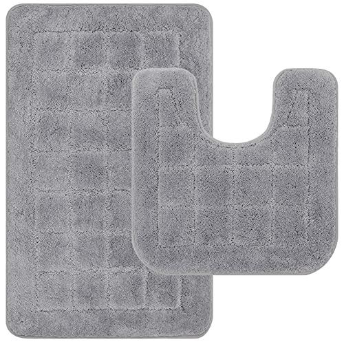 Pauwer Juego de 2 Alfombrillas de baño de Microfibra Antideslizante Lavable a Máquina Alfombra de baño y Pedestal Set,Gris,53 x 86 cm+50 x 50 cm
