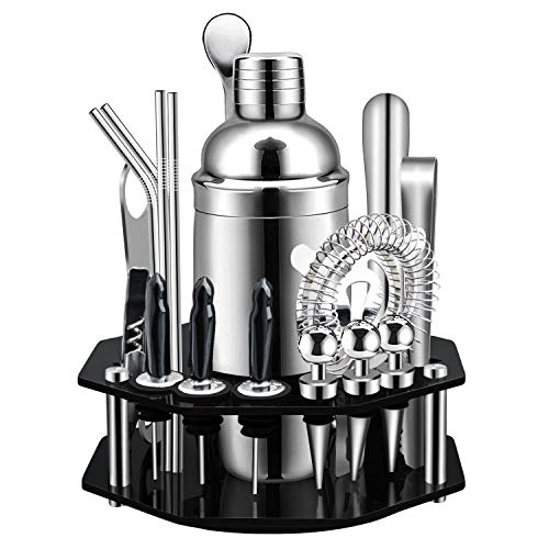 X-cosrack Bar Set,19-Piece Cocktail Shaker Set with Octagon Rotating Display Stand,SS304 Stainless Steel Premium Bartender Kit for Home,Bar,Party,Perfect Gift Choice