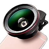 K & F CONCEPT–Obiettivo Cellulare occhio di pesce professionale HD, 0.6angolo ampio, 12.5x lente macro, fisheye con 37MM Clip-on per Apple Iphone 7/7Plus/6S/6S Plus/6/5, Samsung, colore: nero