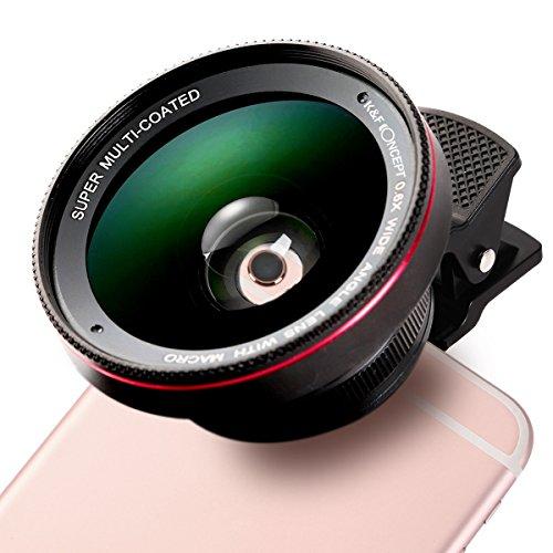K&F Concept - Lente Móvil Ojo de Pez Profesional HD (0.6 ángulo Amplio, 12.5X Lente Macro) Fisheye con 37MM Clip-On para Apple iPhone 7/7 Plus/6s/6s Plus/6/5, Samsung, Color Negro