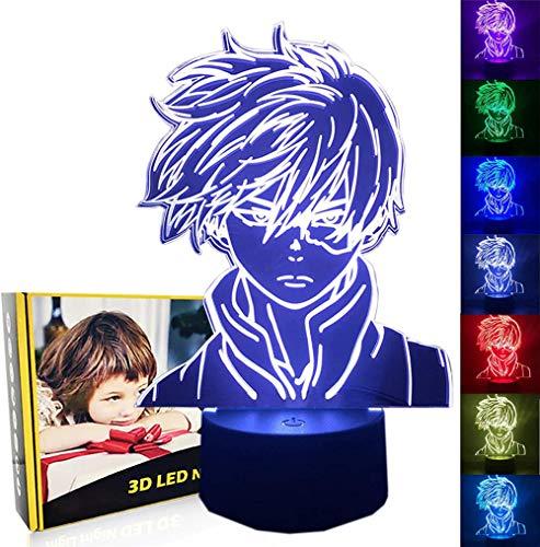 Regalos para niños, lámpara de ilusión 3D Shoto Todoroki 16 luces de ilusión óptica que cambian de color con acrílico plano, base ABS, cable USB para vacaciones