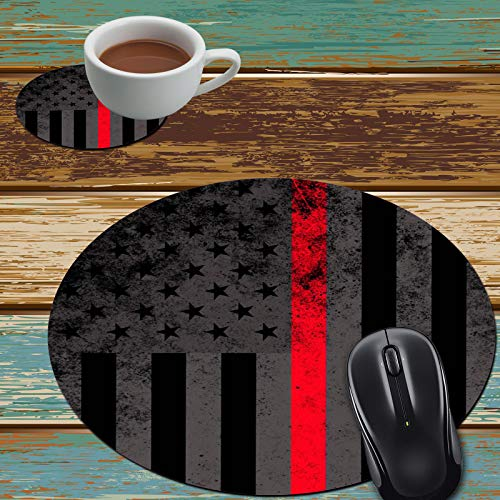 Mouse Pad and Coaster Set, Thin Red Line American Flag Mouse Pad Round Non-Slip Rubber Mousepad Office Accessories Desk Decor Mouse Mat for Desktops Computer Laptops