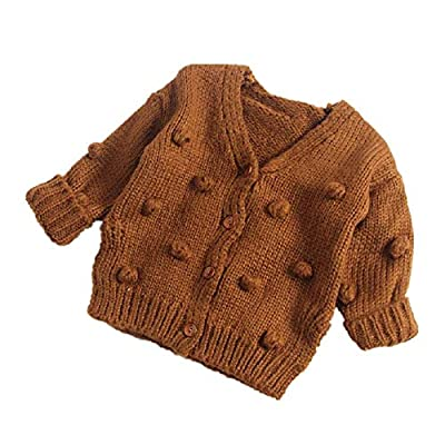 Toddler Baby Girls Winter Coat Pompom Button Knit Sweater Cardigan Kids Long Sleeve Warm Jacket Outerwear (Solid Brown, 6-12 Months)
