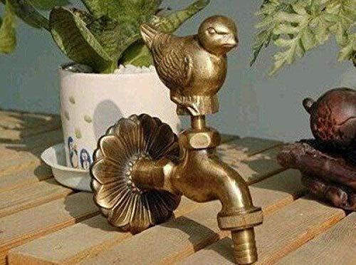 Modelado de animales de campo al aire libre decoración de jardín grifo de jardín babero con grifo de lavadora de pájaros de gorrión de bronce antiguo