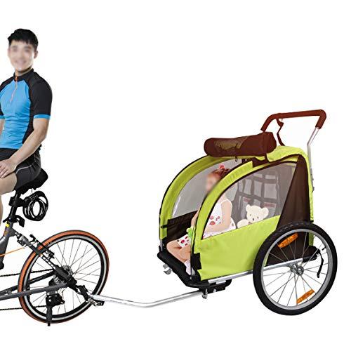 OLMME Fahrradanhänger für Kinder Multifunktion 2 Sitze Fahrradanhänger Jogger Universal Vorderrad Aluminiumlegierungsrahmen (Kinder Innerhalb von 1,3 M) Blau/Gelb(Color:Gelb)