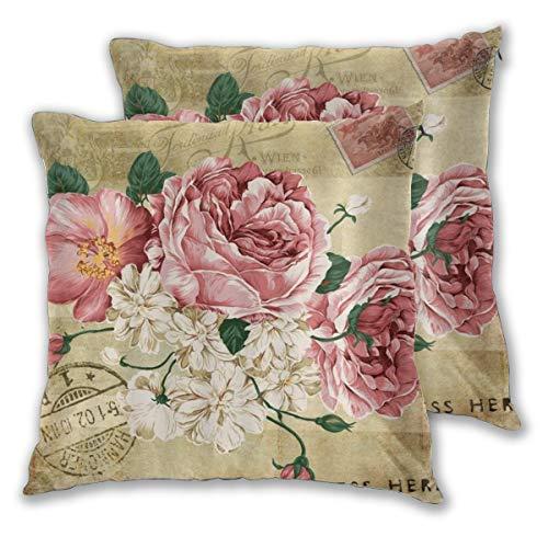 LOSUMIGE Juego de 2 fundas de almohada retro con diseño de flores, rosa, vintage, diseño antiguo, para sala de estar, dormitorio, sofá, sofá, funda de cojín decorativa sin almohada de 60 cm x 60 cm