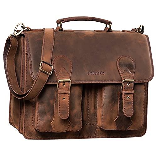 STILORD 'Kronos' Aktentasche Leder Herren Lehrertasche Leder-Tasche Büro Business groß Arbeitstasche Umhängetasche Vintage Echtleder aufsteckbar, Farbe:Sepia - braun