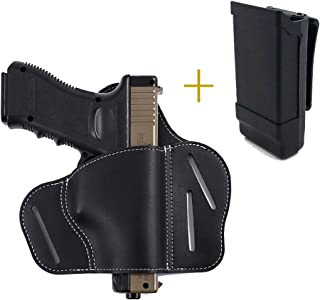 Deway Tactical Leather 1911 Gun Holster, 3 Slot Pancake Style Belt Concealed Carry Right Handed Holster, Comes with a Magazine Holder