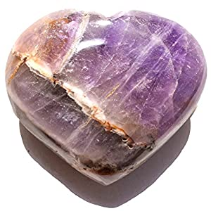 "Zenergy Gems [1] One Charged 2"" Himalayan Amethyst Crystal Hand-Carved Pocket Heart + Selenite Charging Heart [Included] (GAIN Creativity & Courage)"