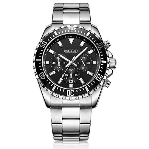 MEGIR Relojes Hombre Acero Inoxidable Impermeable Deportes analógico de Cuarzo Hombres Reloj Negocios Cronógrafo Calendario Negro Relojes Hombre