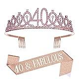 Taumie Cristal Corona de Cumpleaños para Mujer, Tiara con Faja de 40th Cumpleaños, Banner de Feliz Cumpleaños, Princesa Feliz Accesorios para Fiestas de Cumpleaños, Favores, Decoraciones (40)