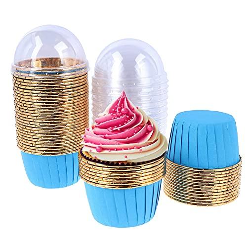 50 Piezas Envoltorios Para Cupcakes,Tazas Para Hornear Con Tapa,Tazas Redondas Para Hornear...