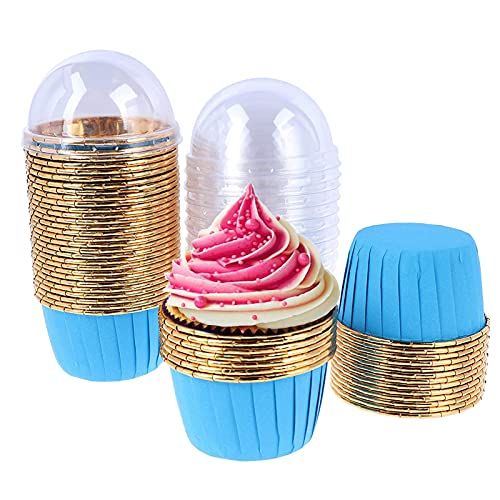 50 Piezas Envoltorios Para Cupcakes,Tazas Para Hornear Con Tapa,Tazas Redondas Para Hornear Pasteles,Para Bodas, Cumpleaños, Fiestas, Campamentos, Pasteles De Diy(Azul)