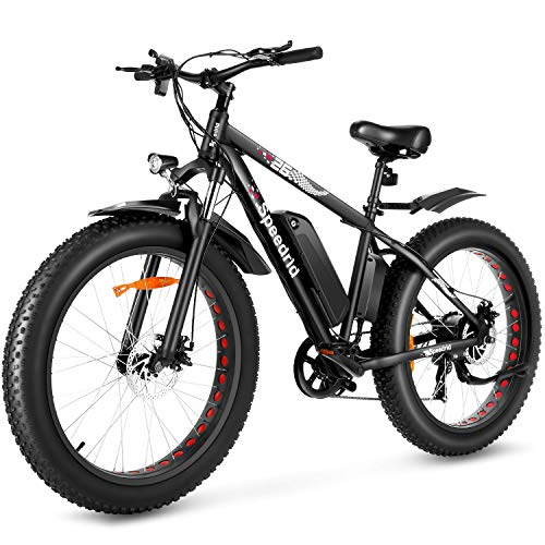 Speedrid Electric Bike 48V 500W Fat Tire Electric Bike Snow Bike 26' 4.0, 48V 10Ah Removable Battery and Professional 7 Speed