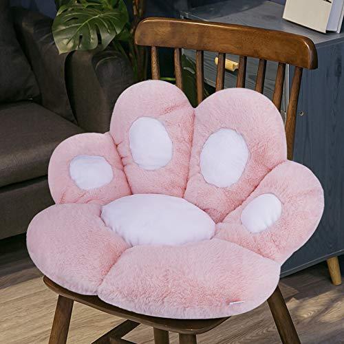 Katze Pfot Rückenkissen Sitzkissen Cute Cat Paw Stuhlkissen Sitzkissen Plüsch Komfort Sitzpolster Büro Lazy Warm Sitzkissen Bett Tatami Bodenkissen für Home Office, Pink